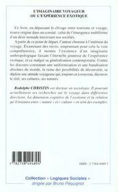 L'Imaginaire Voyageur Ou L'Experience Exotique - 4ème de couverture - Format classique