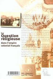 La Question Religieuse Dans L'Empire Colonial Francais - 4ème de couverture - Format classique