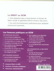 Les Finances Publiques En Qcm - 4ème de couverture - Format classique