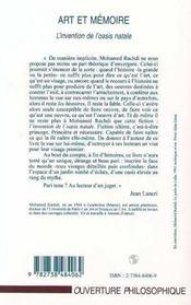 Art et mémoire ; l'invention de l'oasis natale - 4ème de couverture - Format classique