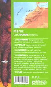 Geoguide ; Maroc (Edition 2003/2004) - 4ème de couverture - Format classique