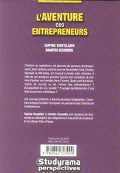 L'aventure des entrepreneurs - 4ème de couverture - Format classique