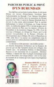 Parcours public & privé d'un Burundais - 4ème de couverture - Format classique