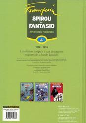 Spirou et Fantasio ; intégrale t.4 ; aventures modernes (1954-1956) - 4ème de couverture - Format classique