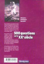 500 qcm sur le xx siecle - 4ème de couverture - Format classique