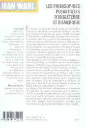 Les Philosophies Pluralistes D'Angleterre Et D'Amerique - 4ème de couverture - Format classique