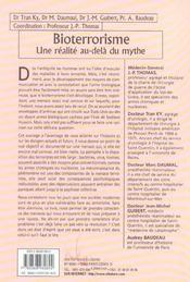Bioterrorisme - Realite Au-Dela Du Mythe - 4ème de couverture - Format classique