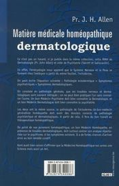 Matière médicale homéopathique dermatologique - 4ème de couverture - Format classique