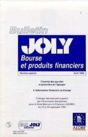 Bourse Et Produits Financiers. Controle Des Marches Et Protection Des Investisseurs. Bulletion Speci - Couverture - Format classique
