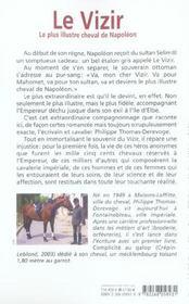Le vizir ; le plus illustre cheval de Napoléon - 4ème de couverture - Format classique