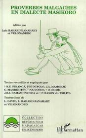 Proverbes Malgaches En Dialecte Masikoro - Couverture - Format classique