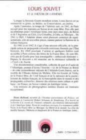 Louis Jouvet Et Le Theatre De L'Athenee ; Promeneurs De Reve En Guerre De La France Au Bresil - 4ème de couverture - Format classique