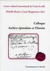 Colloque archive épistolaire et histoire - Couverture - Format classique