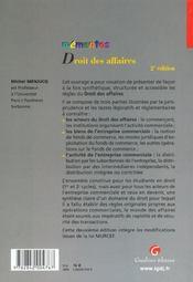 Memento droit des affaires - 4ème de couverture - Format classique