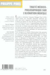 Traite Medico-Philosophique Sur L'Alienation Mentale - 4ème de couverture - Format classique