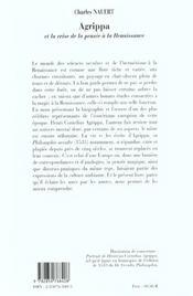 Agrippa Et La Crise De La Pensee A La Renaissance - 4ème de couverture - Format classique