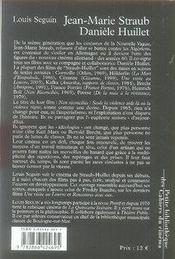 Jean-marie straub, danièle huillet - 4ème de couverture - Format classique