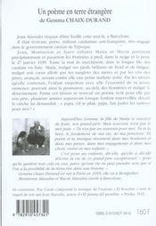 Un Poeme En Terre Etrangere ; Joan Alevedra Et Son Poema Del Pessebre - 4ème de couverture - Format classique