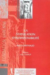 La stipulation d'indisponibilite - Intérieur - Format classique