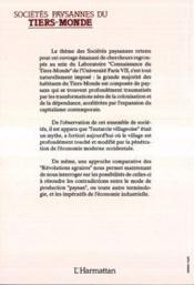 Sociétés paysannes du tiers-monde - 4ème de couverture - Format classique