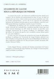 Les juristes de gauche sous la république de Weimar - 4ème de couverture - Format classique