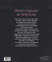 Destins Tragiques De Hollywood - 4ème de couverture - Format classique