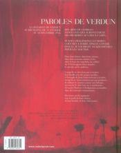 Paroles de Verdun - 4ème de couverture - Format classique