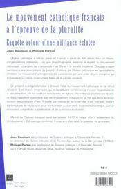 Mouvement Catholique Francais A L Epreuve De La Pluralite - 4ème de couverture - Format classique