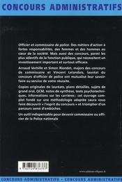 Officier Et Commissaire De Police Fonction Publique D'Etat Categorie A - 4ème de couverture - Format classique