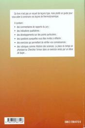 Lecons De Thermodynamique Agregation De Sciences Physiques - 4ème de couverture - Format classique