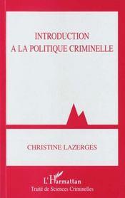 Introduction à la politique criminelle - Intérieur - Format classique