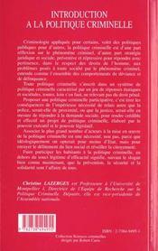 Introduction à la politique criminelle - 4ème de couverture - Format classique