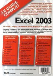 Microsoft excel 2003 - 4ème de couverture - Format classique
