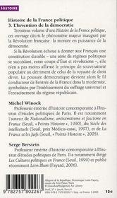 Histoire de la France t.3 ; l'invention de la démocratie 1789-1914 - 4ème de couverture - Format classique