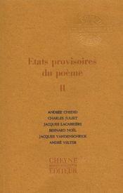 Revue Etats Provisoires Du Poeme T.2 - Couverture - Format classique