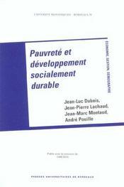 Pauvrete Et Developpement Socialement Durable - Intérieur - Format classique