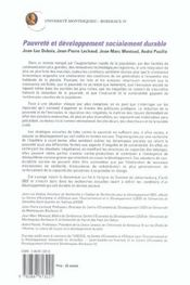 Pauvrete Et Developpement Socialement Durable - 4ème de couverture - Format classique