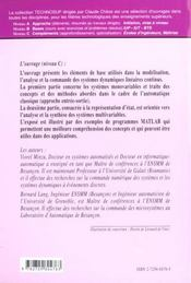 Automatique Commande Automatique De Systemes Lineaires Continus Cours Applications Utilisant Matlab - 4ème de couverture - Format classique