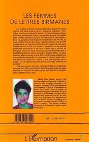Les Femmes De Lettres Birmanes - 4ème de couverture - Format classique