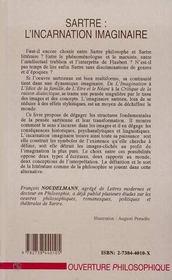 Sartre : L'Incarnation Imaginaire - 4ème de couverture - Format classique