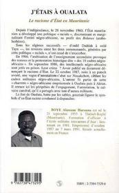 J'étais à Oualata ; le racisme d'état en Mauritanie - 4ème de couverture - Format classique