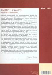L'Amidon Et Ses Derives ; Applications Industrielles - 4ème de couverture - Format classique