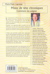 Maux De Tete Chroniques - Comment Les Soigner - 4ème de couverture - Format classique