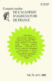 Agriculture et productions vegetales notes et communications(v75 n.4 1989) - Couverture - Format classique
