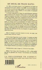 En Deuil De Franz Kafka - 4ème de couverture - Format classique
