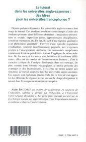 Le tutorat dans les universités anglo-saxonnes ; des idées pour les universités francophones ? - 4ème de couverture - Format classique
