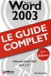 Vente livre :  Microsoft word 2003  - Deschamps-G