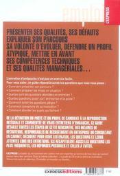 Reussir Ses Entretiens D'Embauche - 4ème de couverture - Format classique