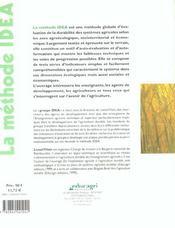 La méthode idea ; indicateurs de duabilité des exploitations agricoles - 4ème de couverture - Format classique
