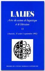 Revue Lalies N.13 - Couverture - Format classique